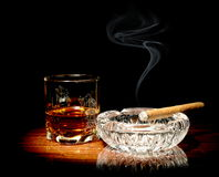 Whisky and a cigar Royalty Free Stock Photo