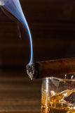 Whisky and cigar Royalty Free Stock Photography