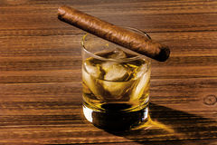 Whisky and cigar Stock Photo