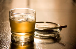 Whisky and cigarette Royalty Free Stock Photos