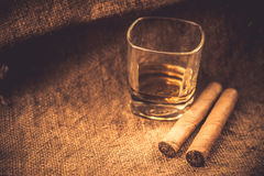 Whisky and cigars Stock Image