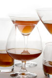 Whisky cognac brandy glasses. Whisky cognac brandy different glasses Royalty Free Stock Images