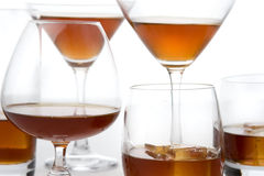 Whisky cognac brandy glasses. With ice Royalty Free Stock Photography