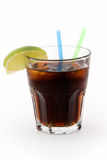 Whisky cola 2. Cocktail whisky cola with lime on white Royalty Free Stock Photos