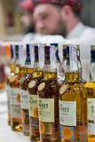 Whisky Dram Festival in Kiev, Ukraine. Glenlivet Single Malt Scotch Whisky Highland distillery booth at 3rd Ukrainian Whisky Dram Festival in Parkovy Exhibition stock photo