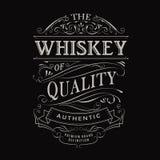 Whisky etykietki rocznika typografii blackboard ręka rysująca granica Obraz Stock