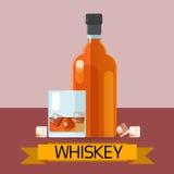 Whisky-Flaschenglas mit der Eis-Alkohol-Getränk-Ikone flach stock abbildung