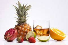 Whisky with fruits Royalty Free Stock Images