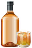 Whisky in glass and bottle Royalty Free Stock Photography