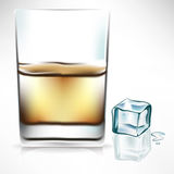 Whisky glass with ice cube Stock Photos