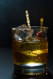 Whisky glass with ice cubes Stock Photography