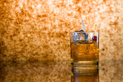Whisky glass with ice cubes Royalty Free Stock Photography