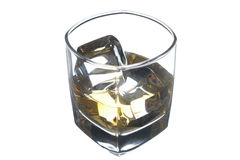 Whisky in a glass on a white background Stock Photography