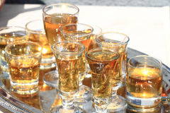 Whisky glasses background. Whisky glasses as start of the celebration Stock Photo