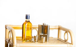 Whisky and hip flask Stock Photo
