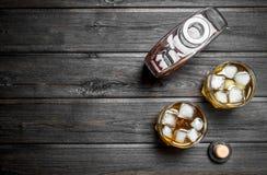 Whisky i en flaska och exponeringsglas arkivfoto