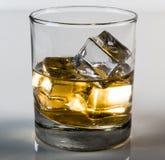 Whisky i exponeringsglas med iskuber med vit bakgrund Royaltyfri Bild