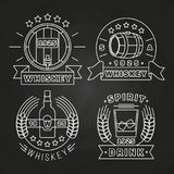 Whisky i napoju etykietki inkasowe na chalkboard ilustracja wektor