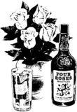 Whisky I róże Zdjęcia Royalty Free