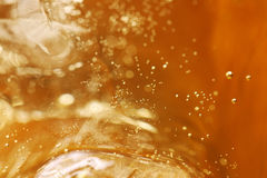 Whisky and ice in glass, bubble float Stock Photo
