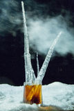 Whisky Ice. Wisky ice cold shot winter jack daniels Royalty Free Stock Photos