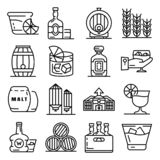 Whisky icon set, outline style. Whisky icon set. Outline set of whisky vector icons for web design isolated on white background royalty free illustration