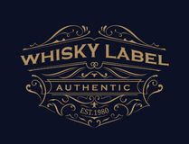 Whisky label antique typography vintage frame logo design. Vector stock illustration