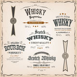 Whisky Labels And Seals On Vintage Background Stock Photos