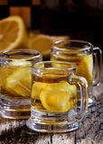 Whisky with lemon in old-fashioned glass mug on a chess board, s stock images