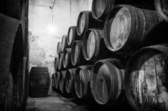 Whisky lub wina baryłki w czarny i biały Obraz Stock