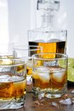 Whisky med ingefärsdricka och limefrukt royaltyfri fotografi