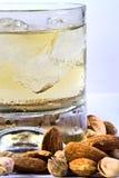 Whisky mit Eis auf weißem Hintergrund Lizenzfreies Stockfoto