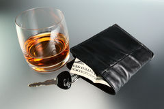 Whisky,money and key Stock Image