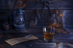 Whisky in old workshop Stock Image