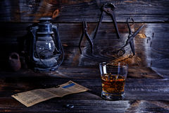 Whisky in old workshop Royalty Free Stock Photos