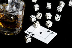 Whisky and playing card Royalty Free Stock Images