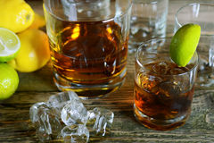Whisky on the rocks in a glass Stock Photography