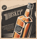 Whisky rocznika plakatowy projekt Fotografia Royalty Free