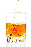 Whisky,rum or any other golden liquor being poured Royalty Free Stock Photos