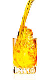 Whisky,rum or any other golden liquor being poured Stock Photo