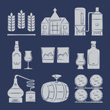 Whisky silhouette icons collection on blue Royalty Free Stock Image