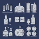 Whisky sylwetki ikony inkasowe na błękicie royalty ilustracja