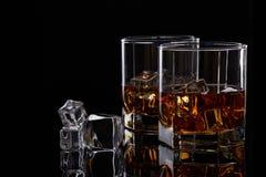 Whisky szkła z lodem Zdjęcie Royalty Free