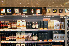 Whisky and tobacco in duty free shop royalty free stock image