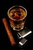 Whisky und Zigarre Lizenzfreie Stockfotos