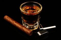 Whisky und Zigarre Stockbilder