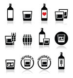 Whisky or Whiskey alcohol icons set. Vector icons set of whisky, whiskey bottle and glass isolated on white vector illustration