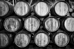 Whisky or wine barrels in black and white Stock Image