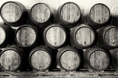 Whisky or wine barrels in black and white Royalty Free Stock Photo