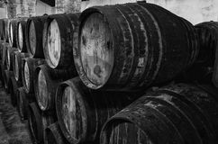 Whisky or wine barrels in black and white Royalty Free Stock Photography